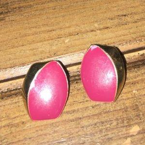 ⚜️Vintage⚜️Magenta Enamel Earrings c90's